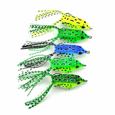 5x Charms Frog Topwater Soft Fishing Lure Crankbait Hooks Bass Bait Tackle Set