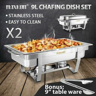 9L Bain Marie Bow Chafing Dish Stainless Steel Buffet Warmer Food Tray Pan 2 Set