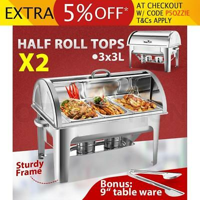 Bain Marie Bow Chafing Dish 3Lx3 Stainless Steel Half Roll Top Set of 2
