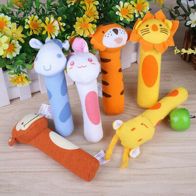 Newborn Baby Toys Soft Animal Model Handbells Plush Rattles Squeeze Rattle Gift