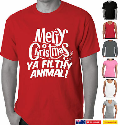 Merry Christmas Ya Filthy Animals.Funny T Shirts Merry Christmas Ya Filthy Animal Xmas Aussie Store Santa Gift Tee