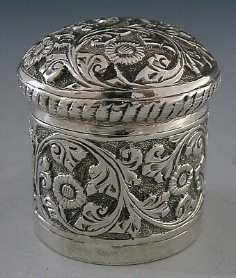 BEAUTIFUL ANGLO-INDIAN SILVER EMBOSSED TRINKET BOX c1900 ANTIQUE