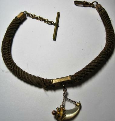 antique Victorian Mourning table work Hair Watch Chain w/ Fob