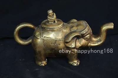 Chinese old characteristic collection level brass Carved elephant teapot