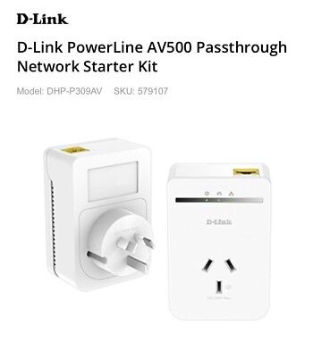 BNIB D-Link DHP-P309AV Powerline AV500 Passthrough Adapter Kit RRP$128.00