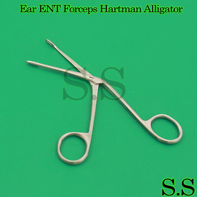 "Ear ENT Forceps Hartman Alligator 2.5"" Surgical 1cm Jaws Serrated Instruments"