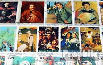 Thematics 200 different Paintings stamps