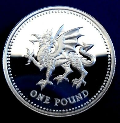 """1995 One Pound, """"Welsh Dragon"""", .925 silver proof + capsule - top grade"""