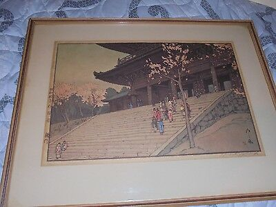 "Vintage Hiroshi  Yoshida Signed Japanese Woodblock ""Chion-in Temple Gate"""
