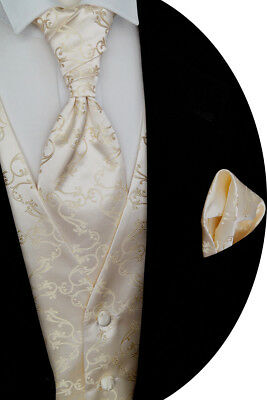 Wedding Waistcoat with Plastron, Handkerchief, Tie Fitted no. 8.3 Size 44-114