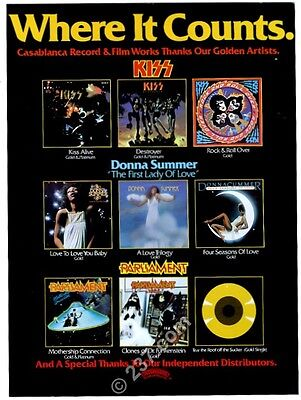 1976 Kiss Donna Summer Parliament photo Casablanca Records music trade print ad