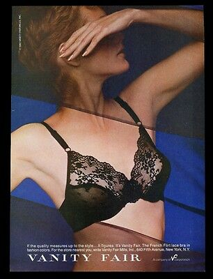 1982 Vanity Fair lingerie woman in black French Flirt lace bra photo print ad