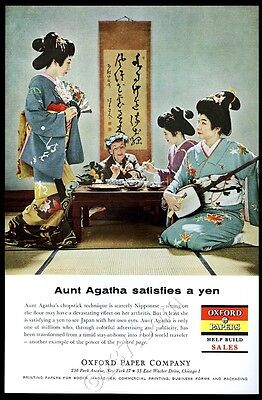 1959 Geisha Japan color photo Oxford paper vintage print ad