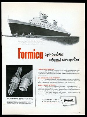 1952 SS United States ship & tugboat pic Formica vintage print ad