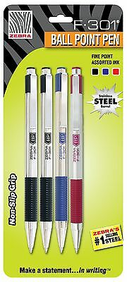 Zebra F-301 Stainless Steel Retractable Ballpoint Pen 0.7mm Assorted 4 Pack (...