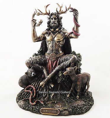 Cernunnos Figure Lord of the Forest Bronzed Statue Altar Figurine Pagan God NEW
