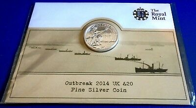 2014 Twenty Pounds, World War 1  100th, .999 silver + card of issue - top grade
