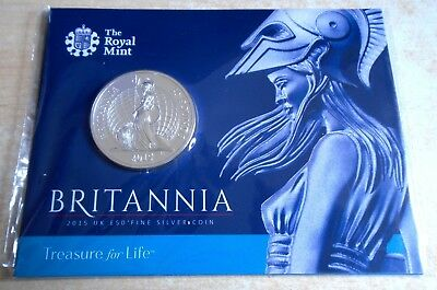 """2015 Fifty Pounds Britannia, """"1st £50"""" .999 silver in card of issue - top grade"""