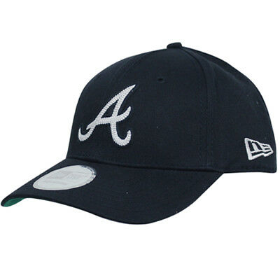 New Era Adjustable MLB Atlanta Braves Curved Peak Cap Black 10414112 UW