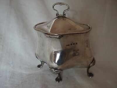 Tea Caddy Edwardian Sterling Silver Birmingham 1908