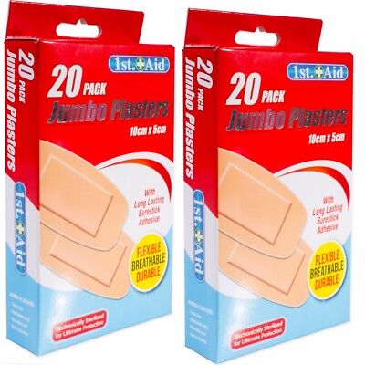 40x JUMBO LATEX FREE PLASTERS Extra Large Wound Dressing Durable Sterile Bandaid