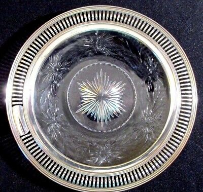 Cut Glass plate with Reticulated STERLING SILVER Rim