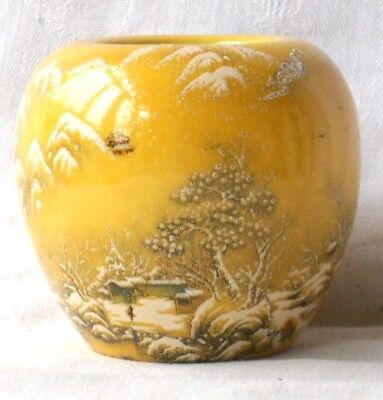 Japanese Satsuma Vase Decorated With A Hand Painted Snow Scene Marks To Base