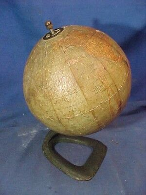 "1920s HAMMONDS 6"" Desktop TERRESTRIAL World GLOBE w IRON Base"