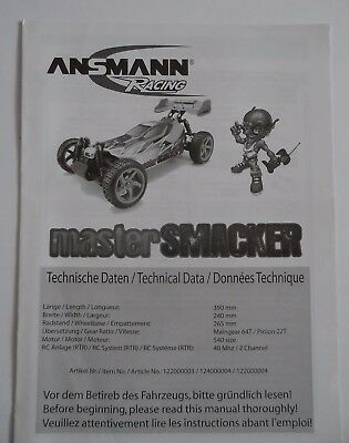 New Ansmann Master Smacker Instructions / Build Manual Inc Spare Part Numbers