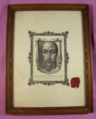 Antique Authentic Veronica Veil - Holy Face Of Christ