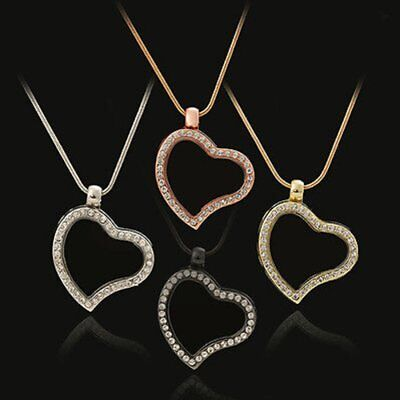 Heart Living Memory Floating Charms Glass Locket Pendant Necklace Free Chain New