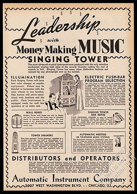 1941 Automatic Instrument Singing Tower jukebox vintage trade print ad
