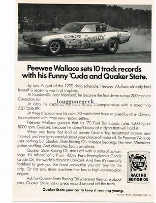 """1970 Quaker State Racing Motor Oil Pee Wee Wallace """"Virginian"""" Dragster Vtg Ad"""