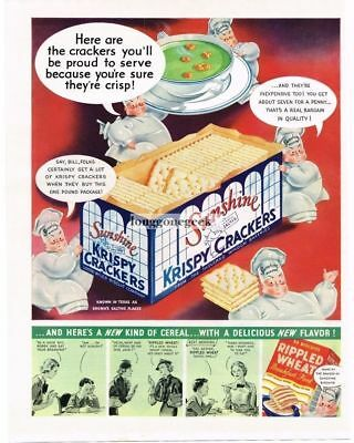 1936 Sunshine Krispy Crackers Loose-Wiles Biscuit Co. Rippled Wheat Vtg Print Ad
