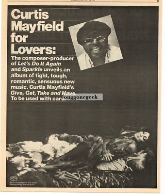 1976 Curtis Mayfield Give Get Take and Have Vtg Album Promo Print Ad
