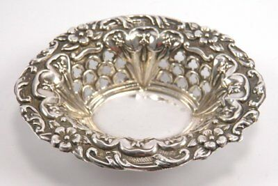 Antique Victorian Joseph Gloster .925 sterling silver pin dish Birmingham 1898