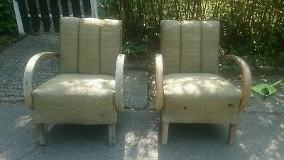 Vintage Antique Pair Art Deco Armchairs Cocktail Chairs