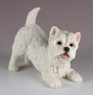 "Westie West Highland White Terrier Dog Figurine 3.75"" Long Polystone New In Box"