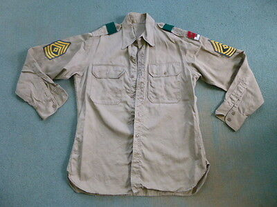 Vintage US Military Khaki Shirt 2nd Army Patch E-8 First Sergeant Post WWII
