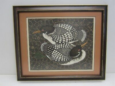 """Yvonne Lens """"Circle of Loons"""" Ltd Ed Signed Framed Hand Colored Print"""