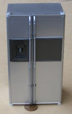 1:12 Scale Larder Style Silver Fridge Freezer Dolls House Miniature Kitchen