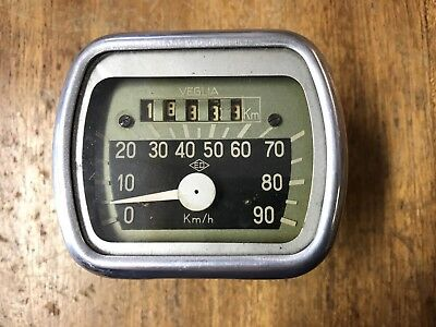 Vespa Rare Original Veglia Speedometer Acma VL1... In Perfect Condition