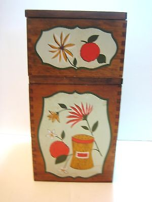 2 Wood Canisters Containers Plastic Liners Vintage