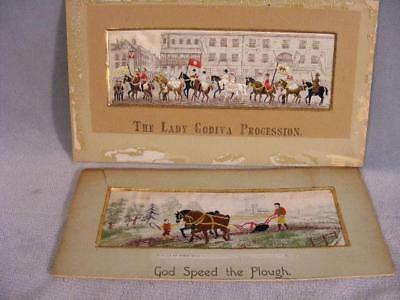 Antique Silk Stevensgraphs - Godiva Procession & God Speed The Plough