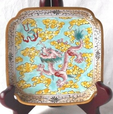 C19Th Chinese Peking Enamel Dish With A Dragon Clouds And A Flaming Pearl