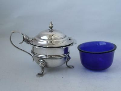 Antique Solid Sterling Silver Mustard Pot 1908/ L 7.5 cm