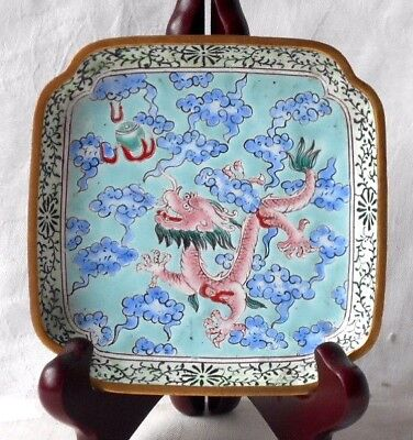 C19Th Chinese Peking Enamel Dragon Dish With Clouds And A Flaming Pearl
