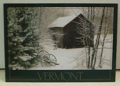 A Winter Coat Of Snow Barn Yard in Winter Vermont Postcard