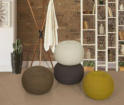 100% Cotton Handmade Light Weighted Knotted Pouffe Foot Stool , In 4 Colours
