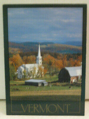 Autumn Village of Peacham Church Barn Vermont Postcard
